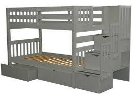 Bunk Beds Twin Stairway Gray  Drawers  Bunk Bed King - King bunk beds
