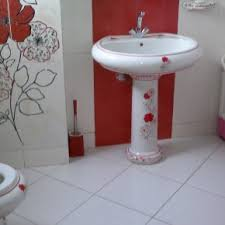Gray And Red Bathroom Ideas - exciting white pedestal sink feat white hardwood floating vanity