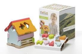 find the shape house solid wood educational toy by cubika freiatoys