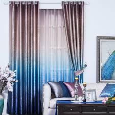 Black Out Curtains Cheap Polyester Gradient Blue Jauquard Geometric Blackout Curtains