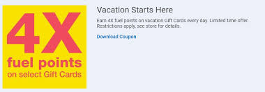 vacation gift cards 4x kroger fuel points when you buy gift cards valid until january 23