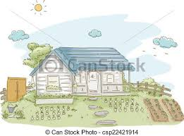 illustration featuring a house with a vegetable garden vector clip