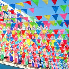 festival decorations 80m colorful triangle birthday party decorations kids supplies