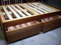 bedroom wooden platform bed frame with hidden storage drawer