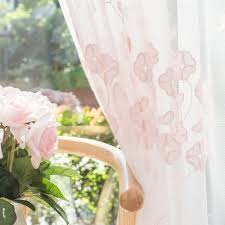 Peach Floral Curtains Floral Embroidered Sheer Curtains For Girls Bedroom