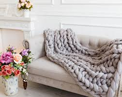 chunky knit throw blankets super bulky knited bed cover from
