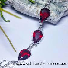 garnet sterling silver bracelet images Red garnet root chakra crystal gemstone bracelet sterling silver jpg