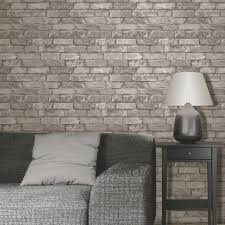 rustic brick effect wallpaper 10m silver grey new fine decor ebay