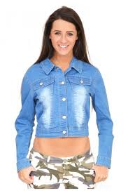 light blue cropped jean jacket glamour ladies cropped faded denim jacket short faded blue denim