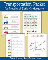 free transportation themed printable packet for prek early k