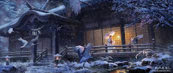 winter anime wallpaper hd wallpaper japan birds animals anime girls snow winter ultra