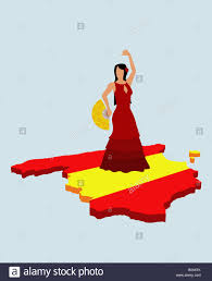 stereotypical spanish woman standing on spanish flag in the shape
