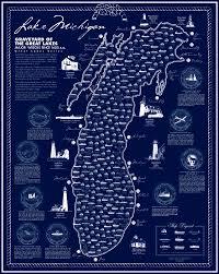 map of michigan lakes lake michigan shipwreck poster lake superior magazine shop