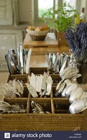 cutlery stand in provence country kitchen stock photo royalty