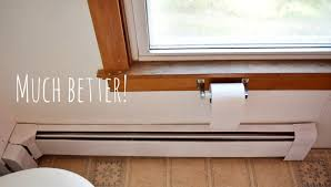 diy bathroom baseboard heaters and wallpaper borders more to mrs e