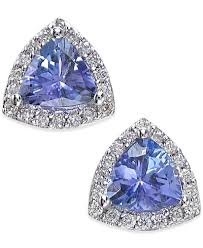 tanzanite stud earrings effy tanzanite 3 4 ct t w and diamond 1 8 ct t w stud