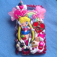 sailor moon and heart locket phone case by tiffyyycuppycake on