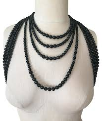 black necklace long images Chanel black runway statement long pearl necklace tradesy jpg