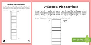 value of a digit worksheet place value ordering 5 digit numbers activity sheet scottish
