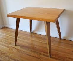 dining table picked vintage mcm splayed leg table with butcher block top 1 jpg