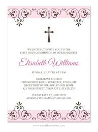 communion invitations for girl pink and brown holy communion or confirmation