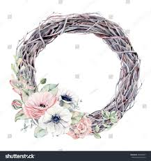 watercolor flowers succulents wreath vintage round stock
