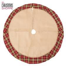burlap tree skirt with plaid edge hobby lobby 5186739