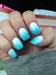 blue white shimmer ombré nails acrylic nail design art nail