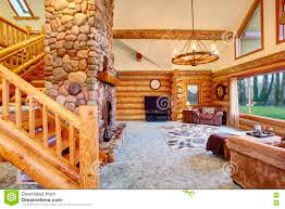 bright living room interior in american log cabin house stock
