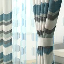 White And Blue Curtains White Blue Linen Striped Geometric Curtains