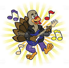 musical thanksgiving thanksgiving turkey playing electric guitar stock vector art