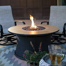 Patio Propane Fire Pit Red Ember 47 In Willow Round Propane Gas Fire Pit Table Hayneedle