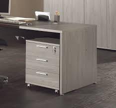 caisson de bureau à roulettes 3 tiroirs coloris bouleau gris alrun