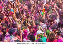 traditional color powder throwing celebrations during stock photo