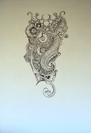 henna inspired shoulder tattoo line art by stickyriceplatter on