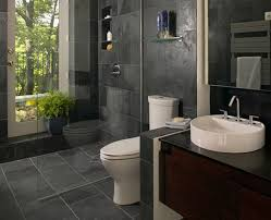 bathroom decorating design ideas using dark grey stone tile black