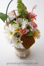 paper fabric and fresh flower centerpieces