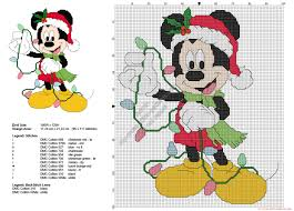 mickey mouse with christmas lights free cross stitch pattern