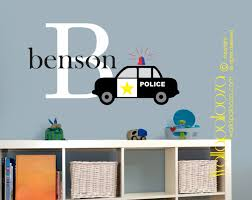 Wall Decals For Boys Police Car Wall Decal Boys Room Wall Decal Boys Name Wall