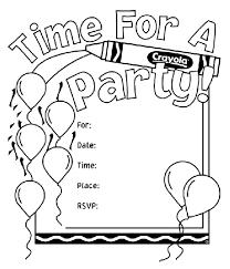 birthday party invitations birthday party invitations coloring page crayola