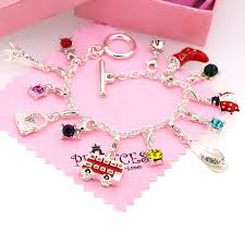 fashion jewelry charm bracelet images Silver plated link chain bracelet with 13 removable jpg
