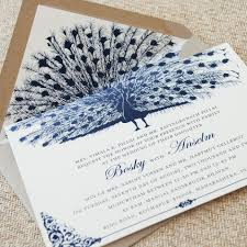 peacock wedding invitations vintage cobalt blue peacock wedding invitation custom wedding invite