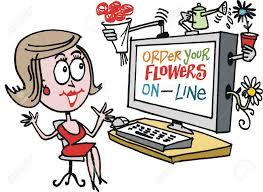ordering flowers vector of woman ordering flowers on line royalty free