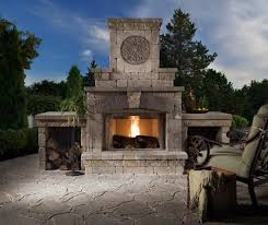 small stoned outdoor fireplace kit designed after modern patio