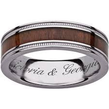 personalized engraved rings personalized milgrain engraved ring in titanium and wood inlay