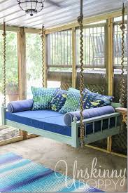 Swinging Bed Frame Pretty Hanging Bed On A Screened In Back Porch The Wrapped