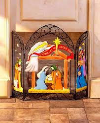 holiday fireplace screen nativity christmas winter country home