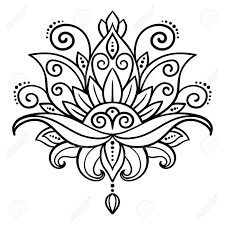vector abstract oriental style flower lotus tattoo design