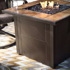 Propane Fire Pit Glass Red Ember Desert Sand 32 In Square Propane Fire Pit Table Hayneedle