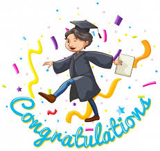 congratulations card template with man holding degree vector